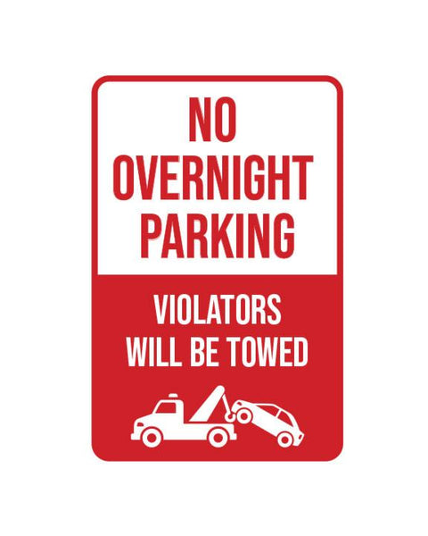 "No Overnight Parking Sign Aluminum Composite 12""x18""x 3mm - BC Retail Supplies"