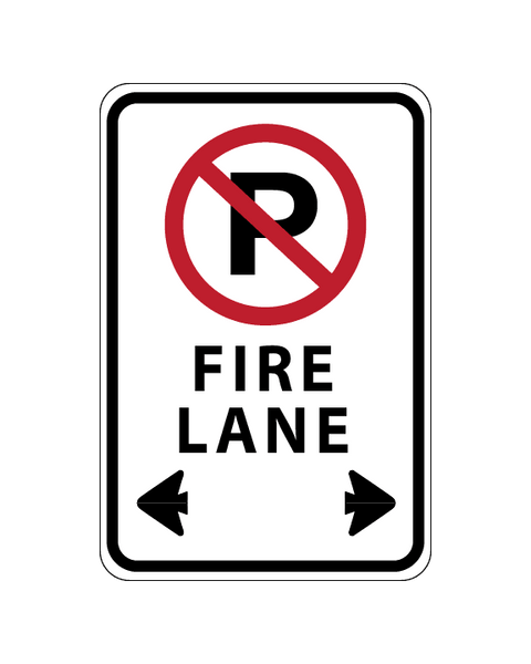 No Parking Fire Lane Sign 3mm 12″x18″ Aluminium Composite - BC Retail Supplies