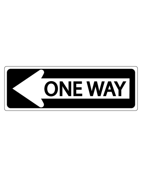 One Way Sign with Left Arrow 3mm 18″X6″ Aluminium Composite - BC Retail Supplies