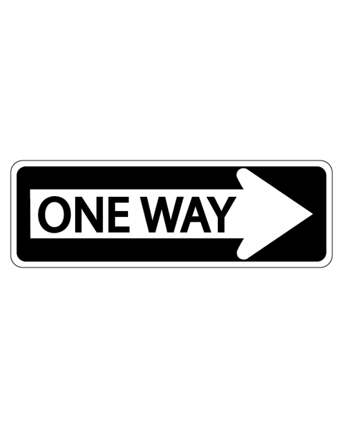 One Way Sign with Right Arrow 3mm 18″X6″ Aluminium Composite - BC Retail Supplies