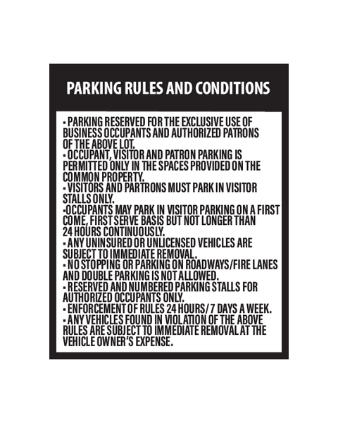 Parking Rules and Conditions Sign 3mm 25″x31″ Aluminium Composite - BC Retail Supplies