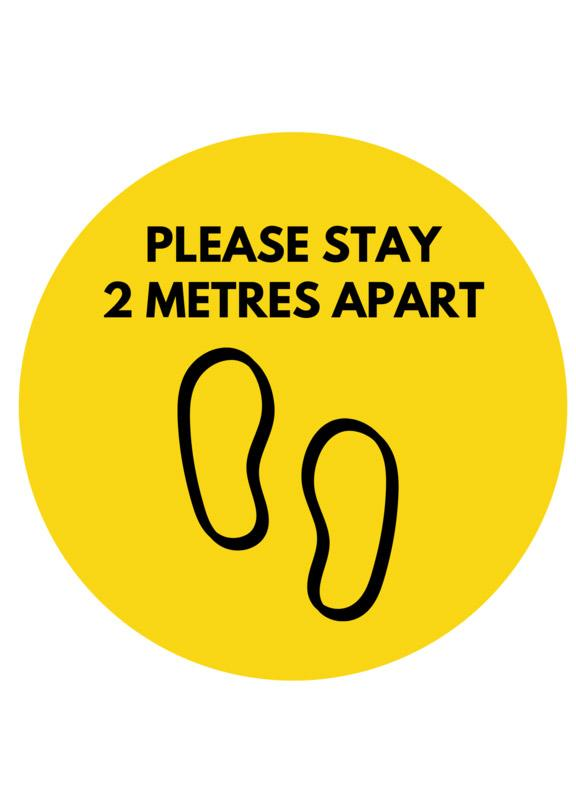 "Physical Distancing Floor Decal - PLEASE STAY 2 METRES APART 12"" Round - BC Retail Supplies"
