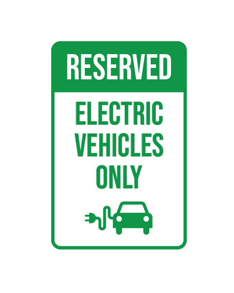 "Reserved Electric Vehicle Parking Only Sign Aluminum Composite 12""x18""x 3mm - BC Retail Supplies"