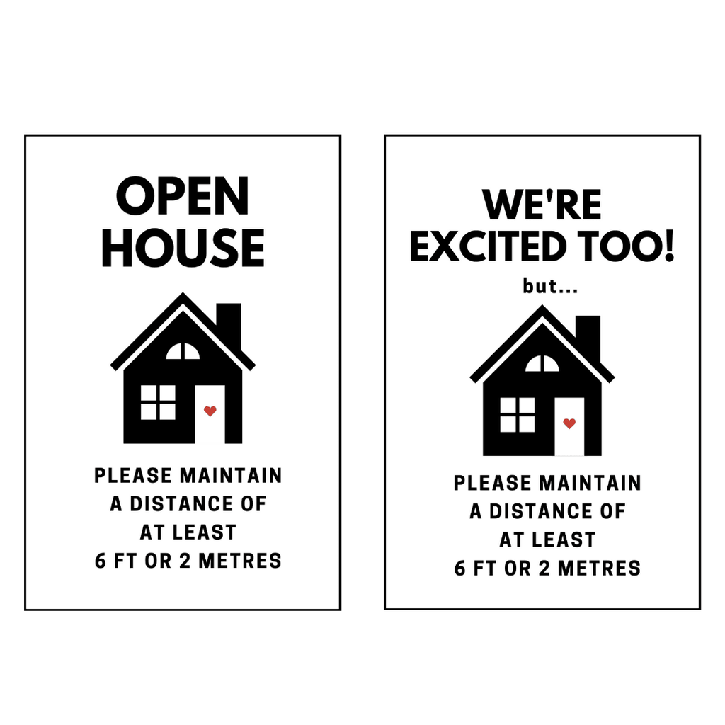 "Set of 2 - Open House Physical Distancing Signs - 4mm 12""x18"" Coroplast - BC Retail Supplies"