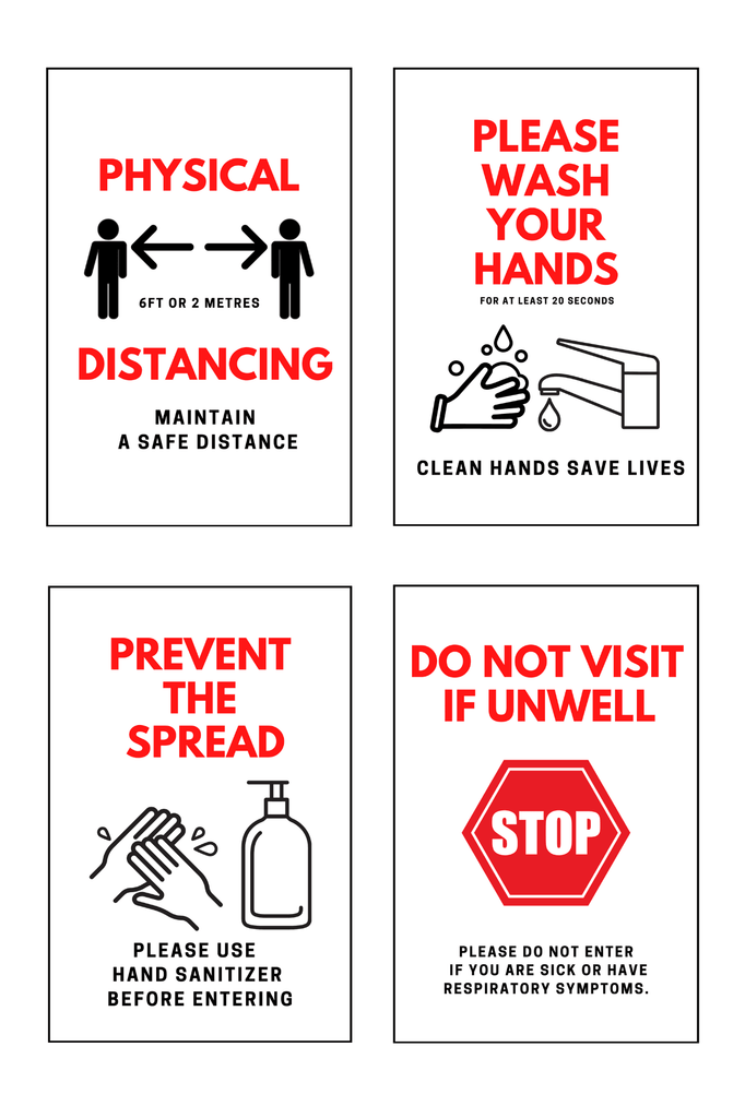 "Set of 4 - Health and Safety Signs - 4mm 12""x18"" Coroplast - BC Retail Supplies"