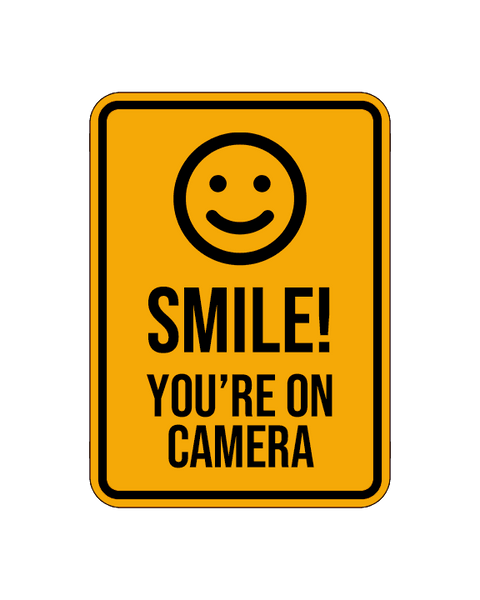 "Smile! You're On Camera Sign Aluminum Composite 12""x18""x 3mm - BC Retail Supplies"