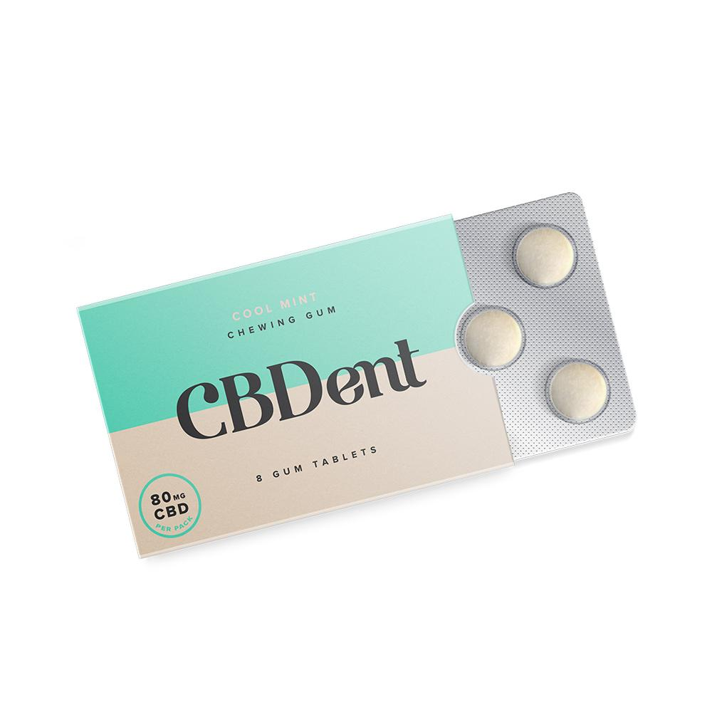 CBDent 80mg | 8ct CBD Chewing Gum - Cool Mint - DirectHemp.com