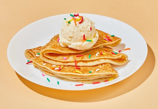 Crêpe topped with ice cream