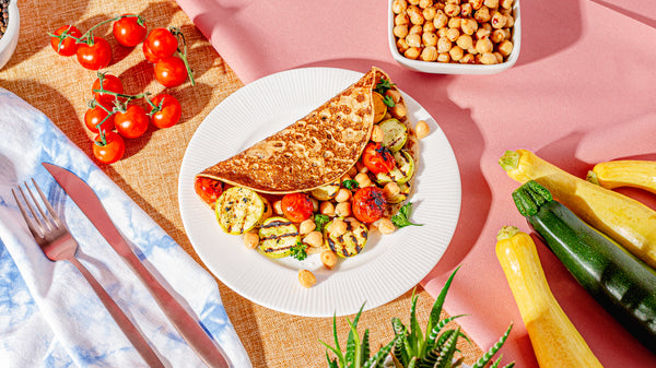 Summer squash, tomato and chickpeas crepes