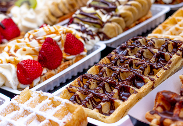 Close-up of Belgian Waffle stand in Brussels
