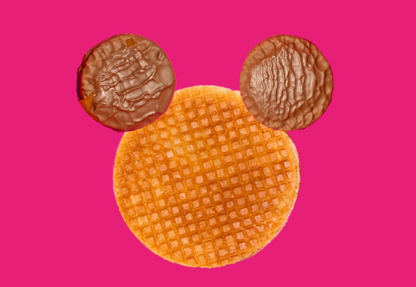 Dutch caramel stroopwafel with two chocolate stroops to create a mickey face shape.