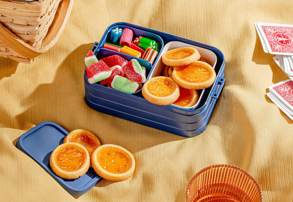 Cookie tarts and gummies in a bento box