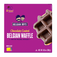 A box with 5 individually wrapped Chocolate Coated Belgian Waffle produced by Belgian Boys