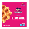 A box of 5 individually packed Original Belgian Waffles with pearl sugar produced by Belgian Boys