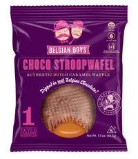A pack with one Choco Stroopwafel by Belgian Boys - an authentic Dutch Caramel Waffle