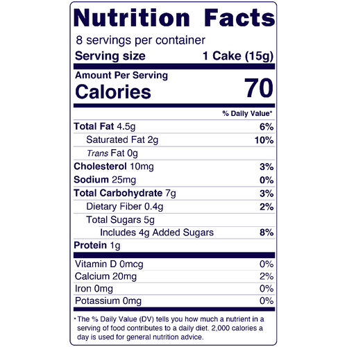 Full Nutrition Facts & Calories for the Almond Butter Cakes produced by Belgian Boys
