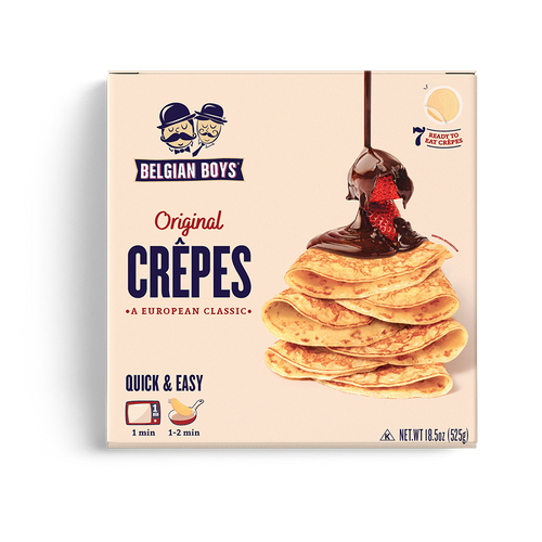 A box of 7 authentic ready-made Crêpes - European classic, produced by Belgian Boys