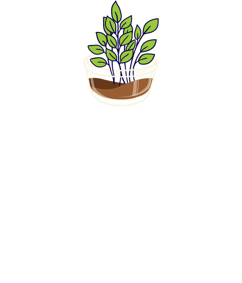 A plant in a ramekin with the text