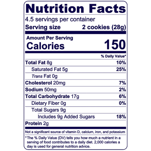 Full Nutrition Facts & Calories for the Choco Caramel Cookie Tarts produced by Belgian Boys