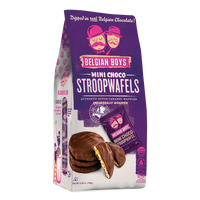 A bag with 14 individually-wrapped Mini Choco Stroopwafels - authentic dutch caramel Stroopwafels