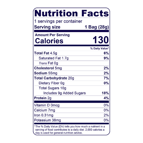 Full Nutrition Facts & Calories for the Chocolate Chip Mini Cookie Stash produced by Belgian Boys
