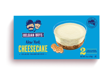A box of 2 New York Cheesecakes in glass ramekins produced by Belgian Boys