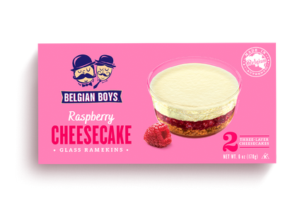 A box of 2 Raspberry Cheesecakes in glass ramekins produced by Belgian Boys