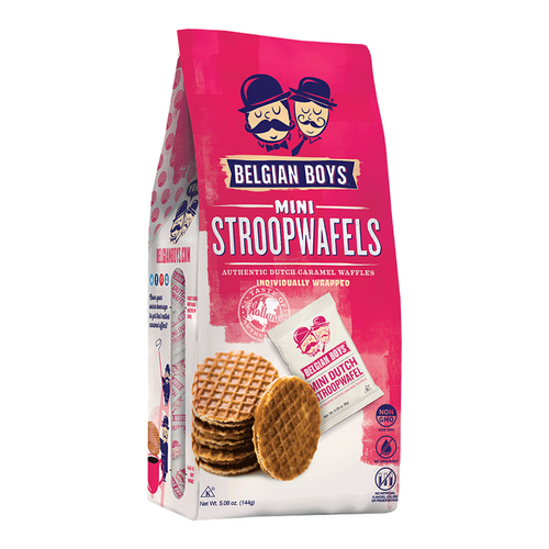 A bag with 18 individually-wrapped Mini Dutch Stroopwafels - authentic caramel waffles produced by Belgian Boys