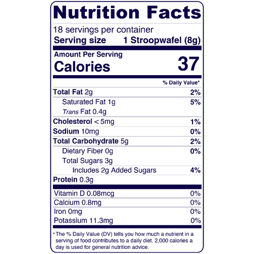 Full Nutrition Facts & Calories for the Mini Dutch Stroopwafels produced by Belgian Boys