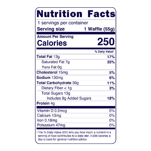 Full Nutrition Facts & Calories for the Original Belgian Waffles produced by Belgian Boys