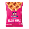 An individually packed Original Belgian Waffle with pearl sugar produced by Belgian Boys