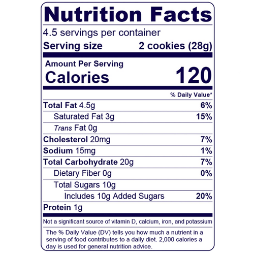 Full Nutrition Facts & Calories for the Raspberry Cookie Tarts produced by Belgian Boys