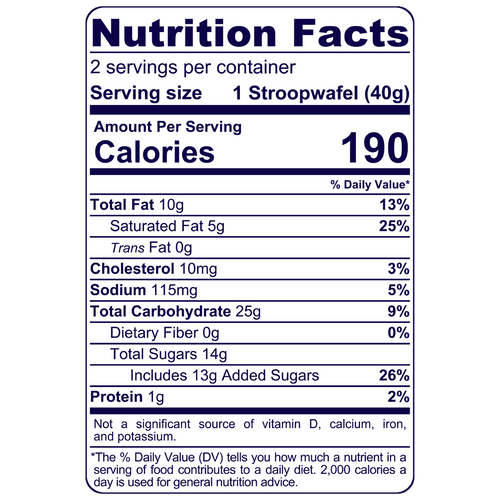 Full Nutrition Facts & Calories for the Stroopwafel Duo produced by Belgian Boys