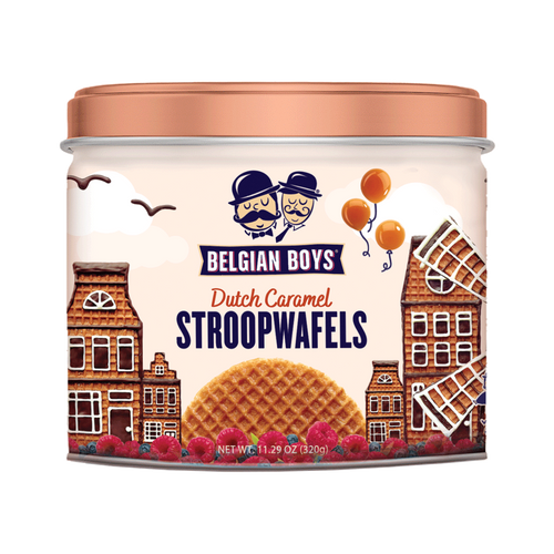 A tin containing 8 authentic Dutch Caramel Stroopwafels produced by Belgian Boys