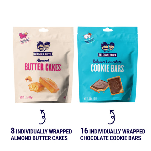 Almond Butter Cakes Pack and Belgian Chocolate Cookie Bars Pack by Belgian Boys
