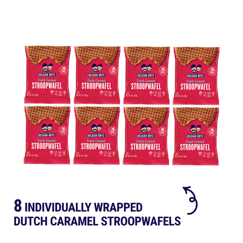 Individually wrapped authentic Dutch Caramel Stroopwafels by Belgian Boys