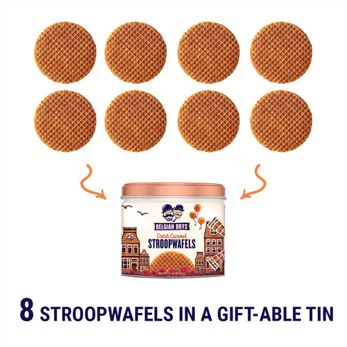 Gift tin with 8 Dutch Caramel Stroopwafels by Belgian Boys