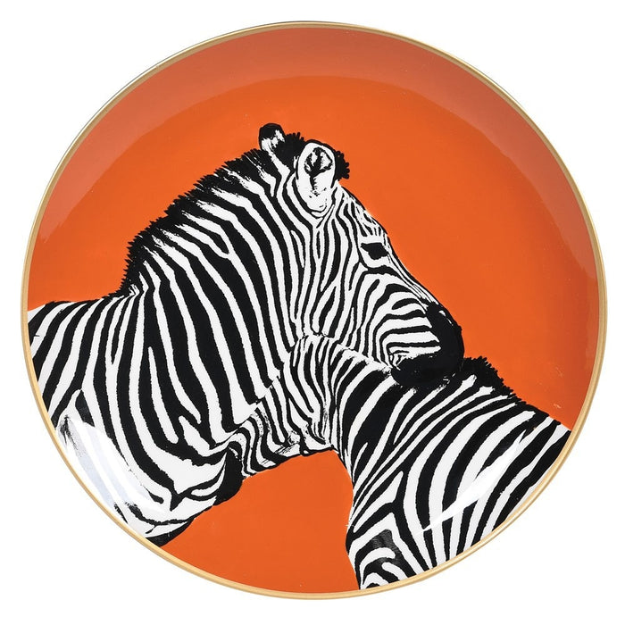 Porcelain Plate with Pair of Zebras