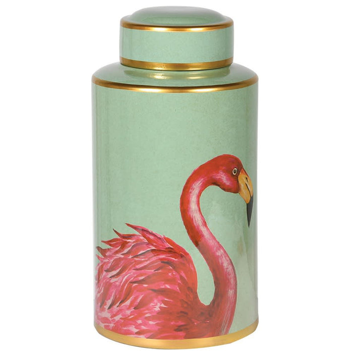 Porcelain Flamingo Lidded Jar