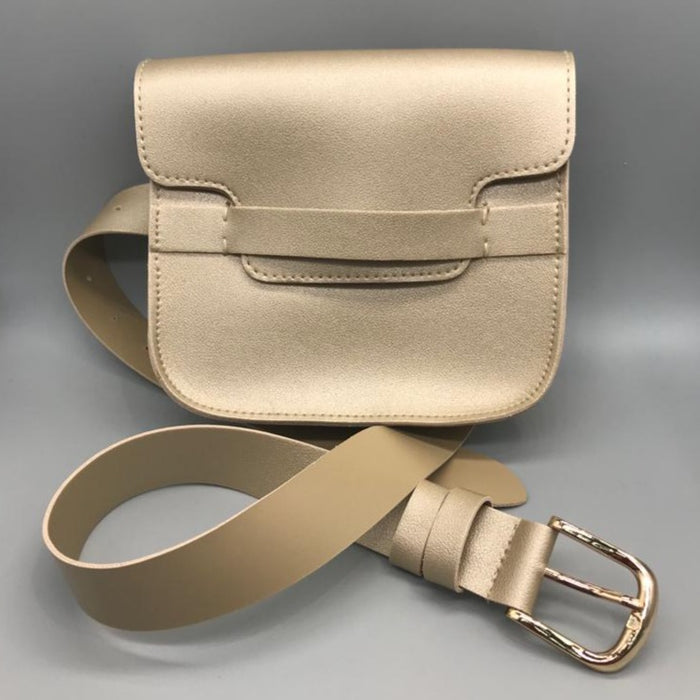 Faux Leather Gold Around the waist Saddle/Bumbag