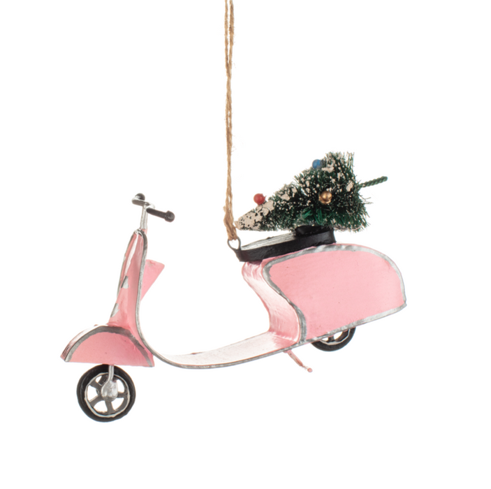 'Pink Retro Scooter' Christmas Tree Decoration