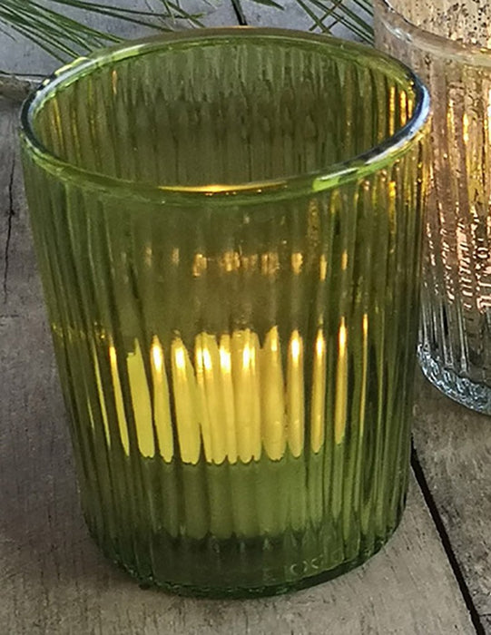 Glass Ribbed Votive - Moss Green