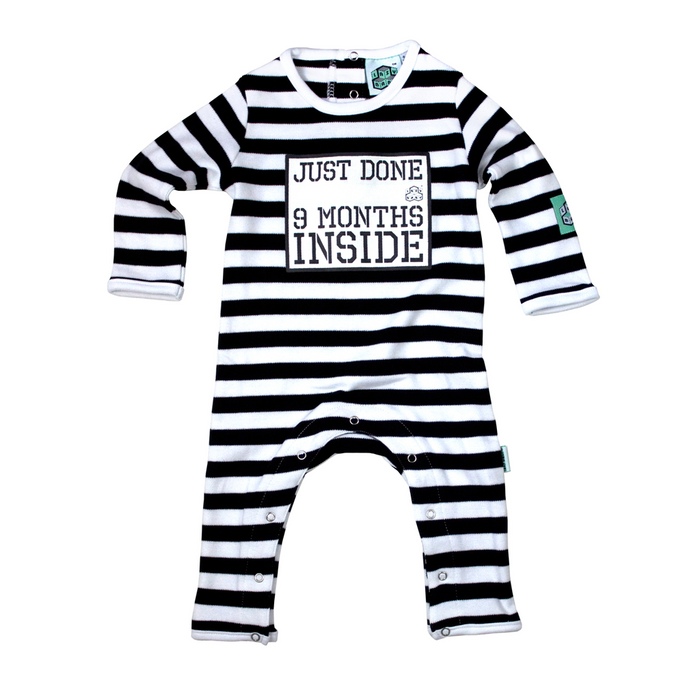 "Lazy Baby White ""9 Months Inside"" Baby Grow"