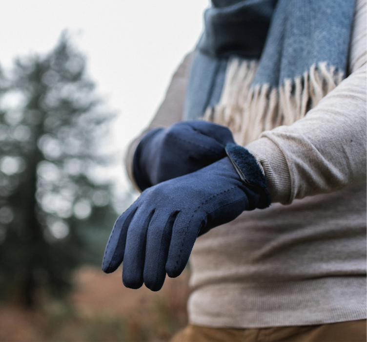 Navy Hector Faux Suede Touch Screen Gloves