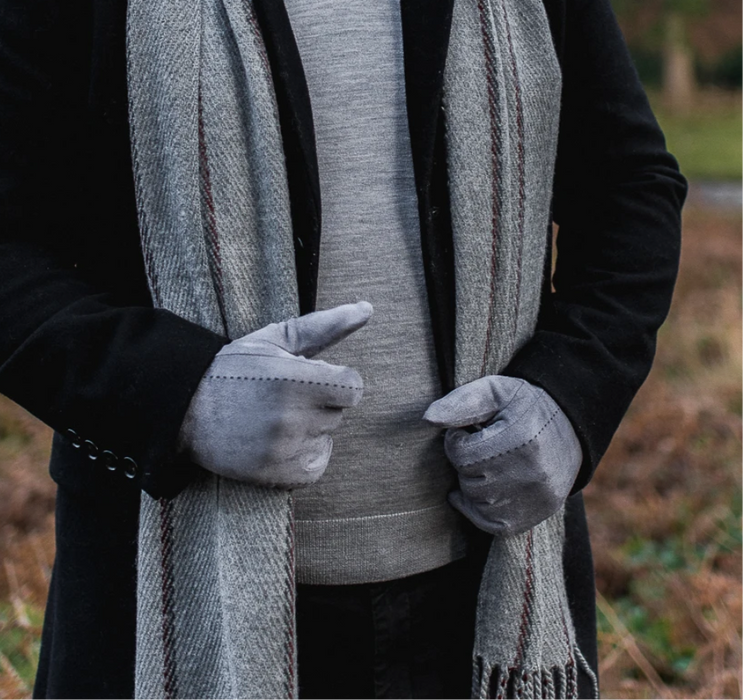Grey Hector Faux Suede Touch Screen Gloves