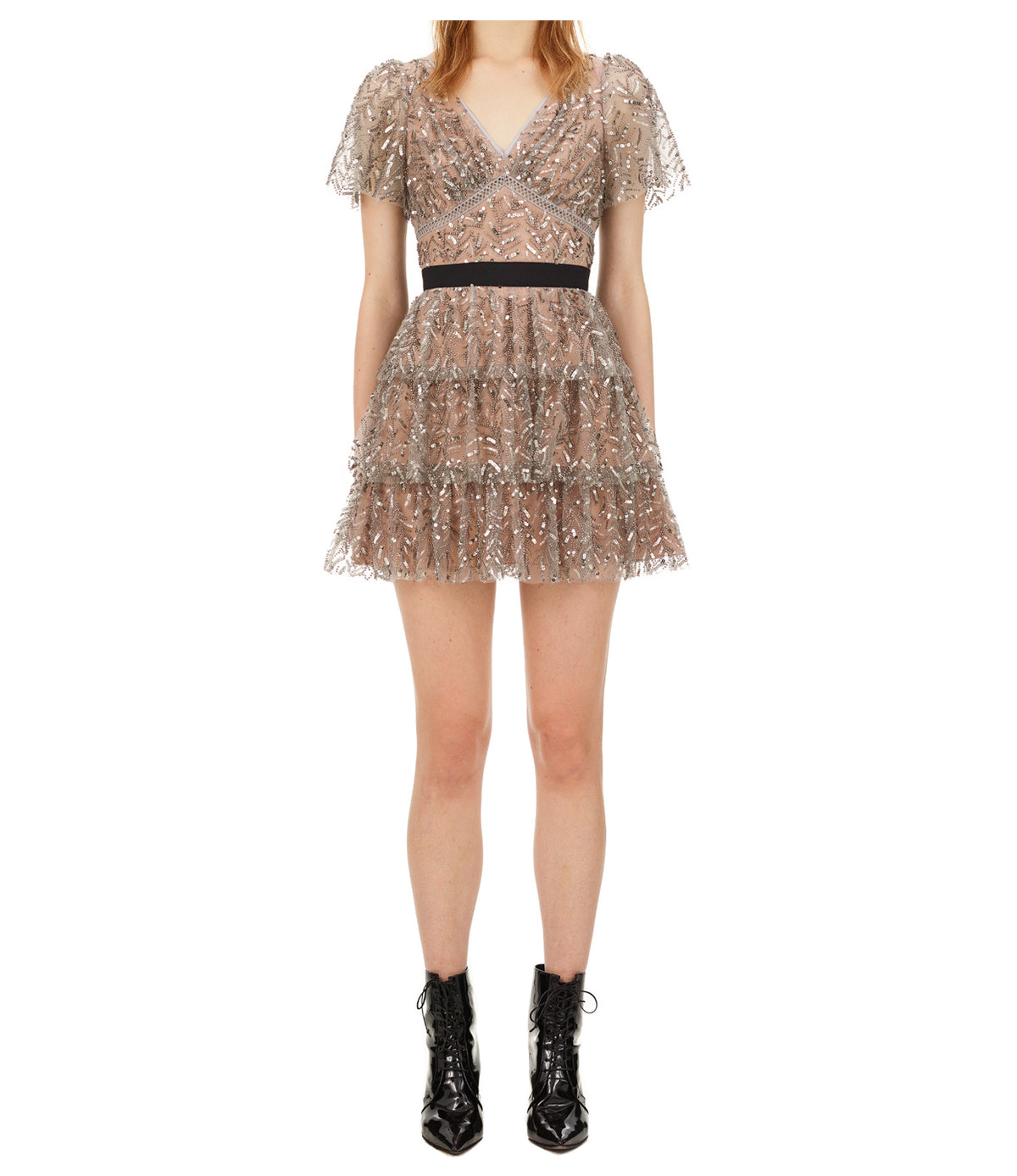 Leaf Sequin Mini Dress | Light Grey
