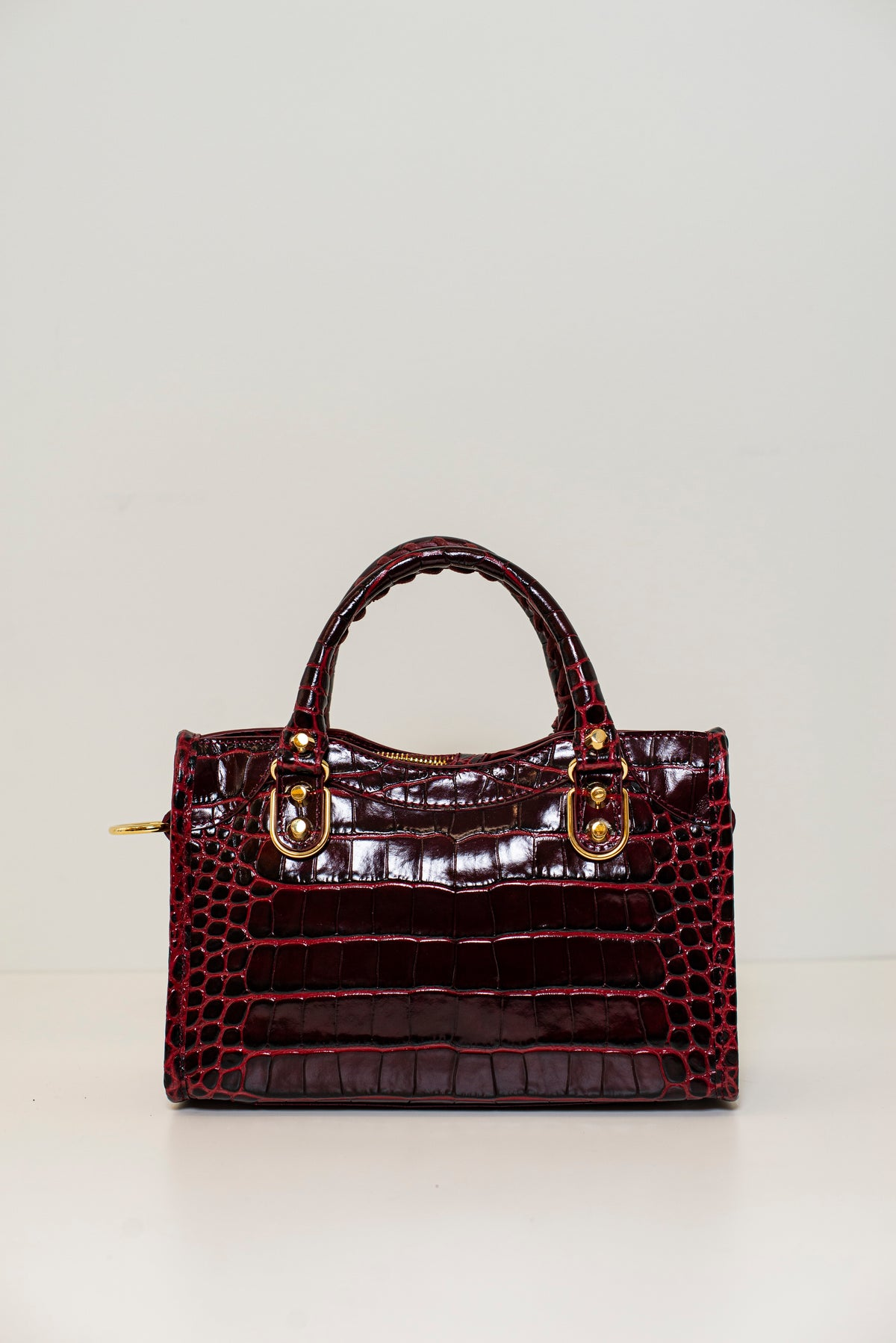 BALENCIAGA - Metallic Mini City | Dark Red