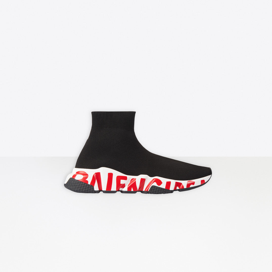 BALENCIAGA - SPEED LT KNIT/GRAFFITI SOLE W | Black/White/Red