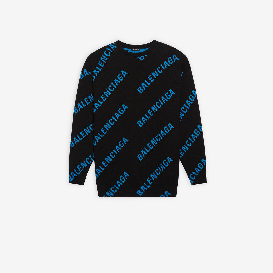 Allover Logo Crewneck | Black/Blue