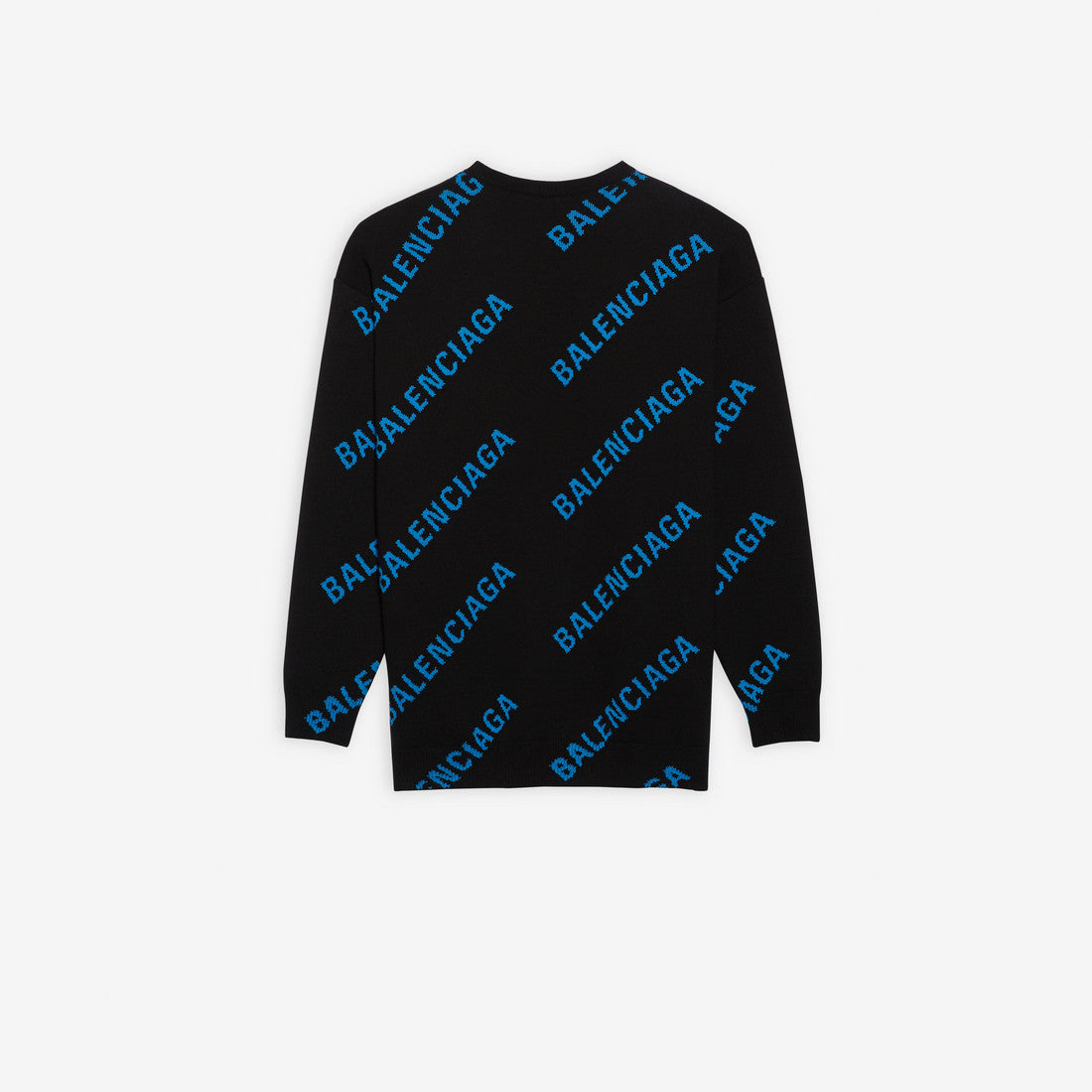 BALENCIAGA - Allover Logo Crewneck | Black/Blue